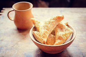 Bowl of freshly baked homemade pastry