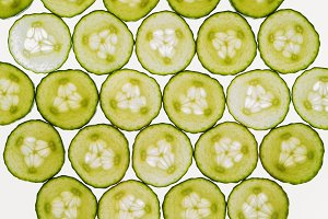 Fresh vegetables slices abstract seamless pattern background, cu