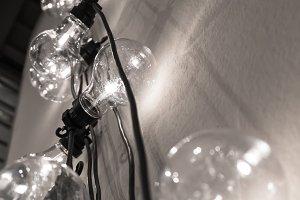 Vintage style light bulbs hanging fr