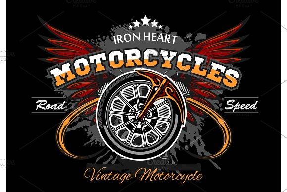 Wheel And Wings Motorcycle Wheel Vector Illuastration