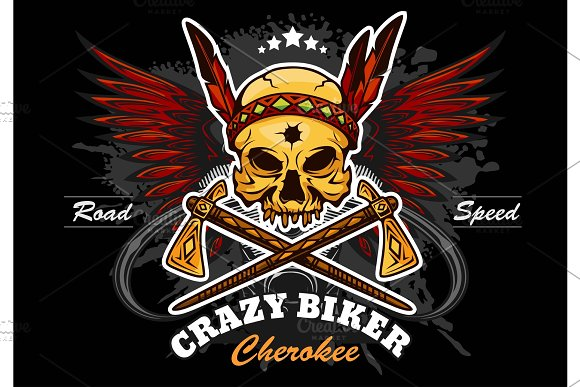 American Indian Skull Motorcycle Graphic Design
