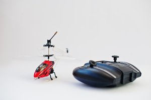 Remote control red helicopter