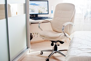 White leather luxury office chair