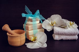 Spa and wellness setting with natural soap