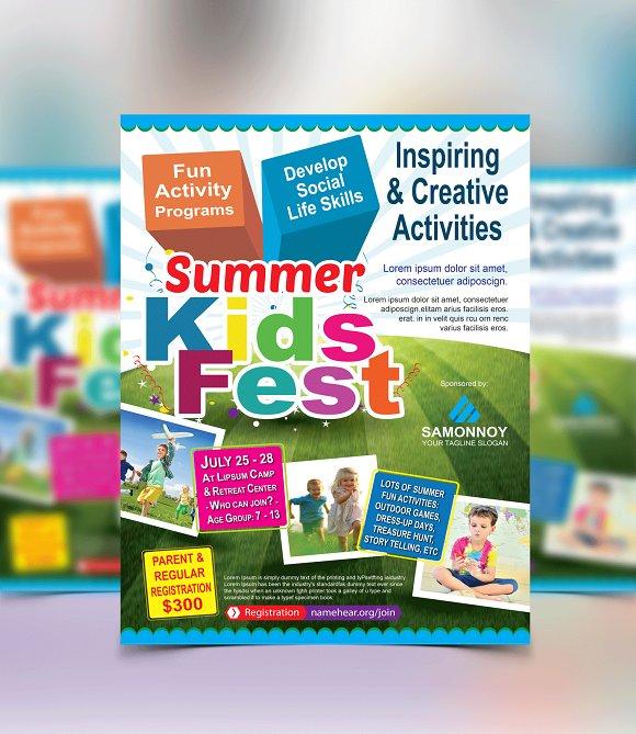 kids summer camp flyer template flyer templates creative market