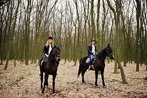 couple in love near horse