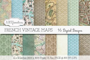 FRENCH VINTAGE MAP Digital Designs