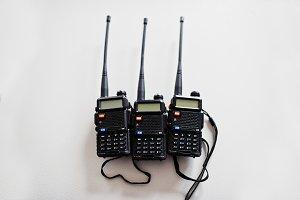 Three portable radio transmitter