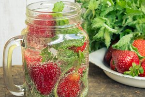Refreshing summer drink with strawberry