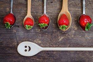 Strawberries on vintage spoons
