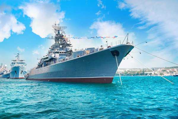 Transportation Stock Photos: Vapi - Military navy ship in the bay