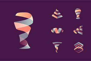 Abstract 3D logos: energy + movement