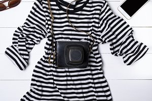 white cotton shirt in black stripes
