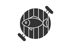 Fish on barbecue grill glyph icon