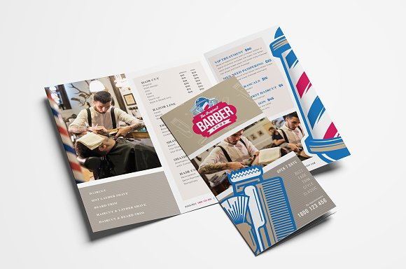 barber s shop trifold brochure brochure templates creative market