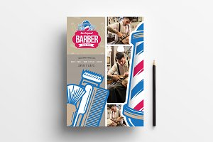 A4 Barber's Shop Poster Template