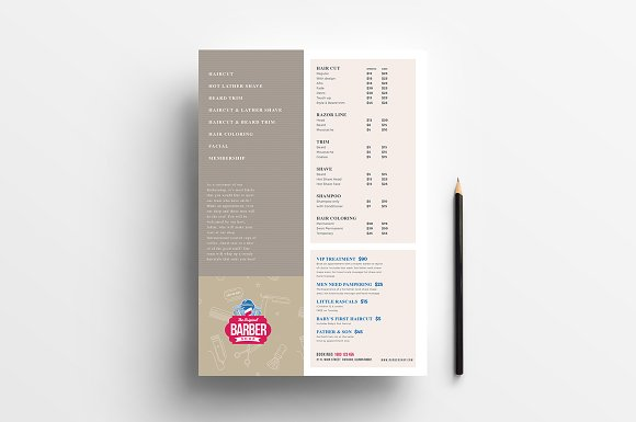 barber s shop price list template flyer templates creative market