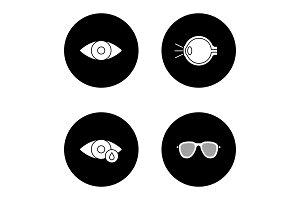 Ophtalmology glyph icons set