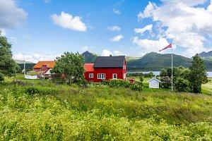 Lofoten islands landscape village