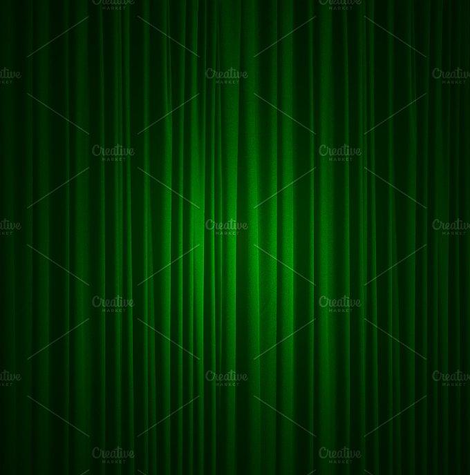 green silk curtain background ~ Abstract Photos on Creative Market
