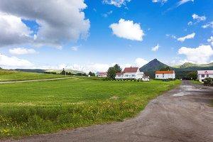 Lofoten island rural landscape