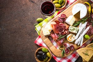 Traditional italian antipasto top view.