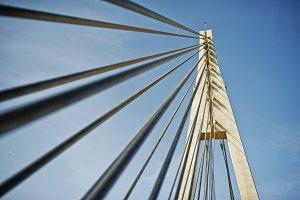 Tall white bridge in a city