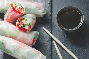 Asian fresh spring rolls.