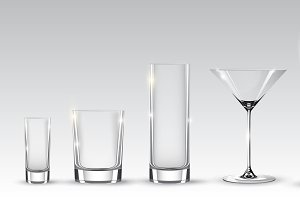 Empty Realistic Glasses Set