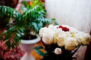 bouquet made out of white roses