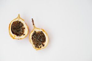 two halves of passion fruit