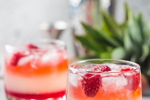 Cold lychee and raspberry cocktail