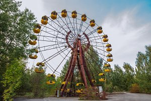 Amusement park in Pripyat. exclusion Zone of Chernobyl ghost city