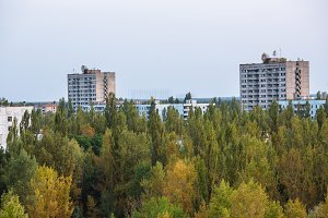 Abandoned buildings of ghost town Pripyat Chornobyl Zone