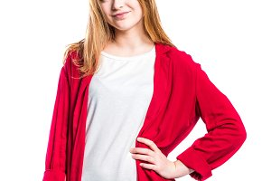 Girl in jeans and red jacket, woman, studio shot