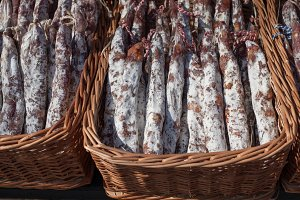Traditional sausage is dry in market