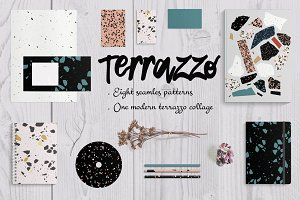 8 Terrazzo seamless patterns. Vector