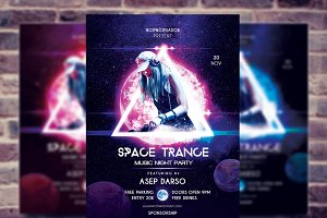 Space Trance Music night party flyer