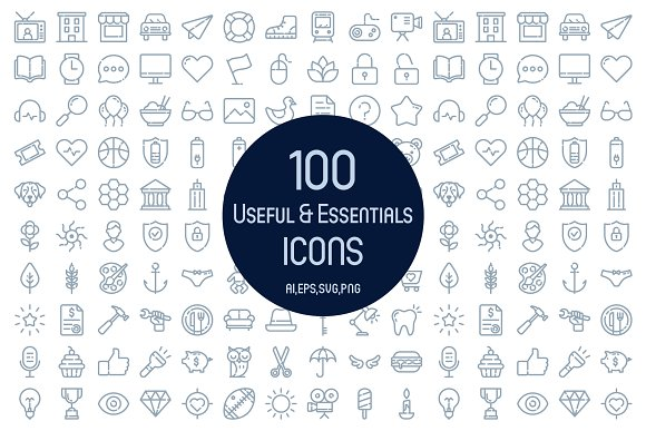 100 Useful Essentials Icons