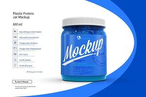 Plastic Protein Jar Mockup 0.6L