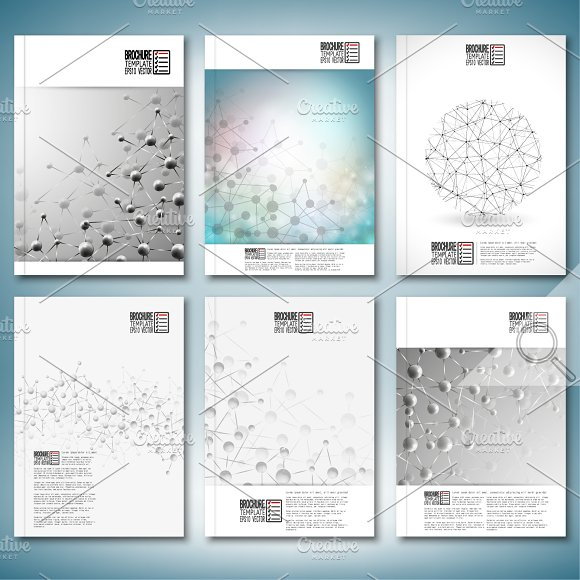 Science brochure or flyer templates illustrations creative market for Science brochure templates