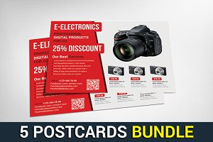 5 Business Marketing Postcards Set