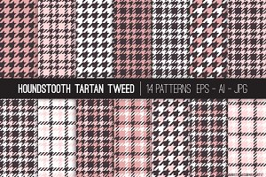 Vector Houndstooth Patterns Pink Blk