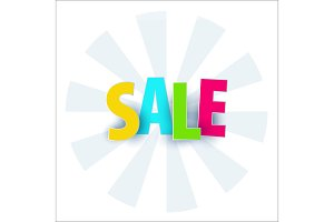 Sale banner template design. Special offer, colourful letters for shopping, mall, trade, retail. Typography