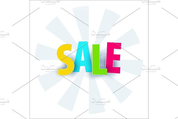 Sale Banner Template Design Special Offer Colourful Letters For Shopping Mall Trade Retail Typography