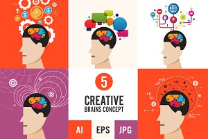 5 Creative Brains Concept