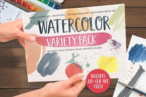 Watercolor Clip Art Splashes Element