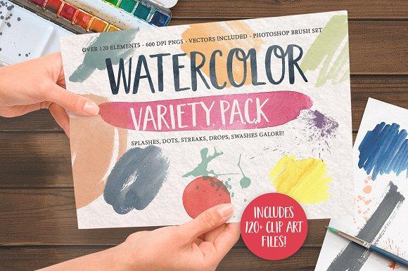 Watercolor Clip Art Splashes Element