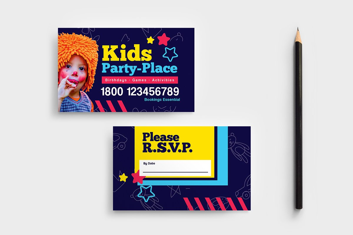 Kids Party RSVP Card Template Business Templates Creative