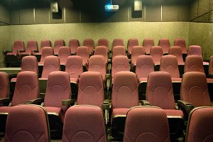 Empty seats in small movie theater
